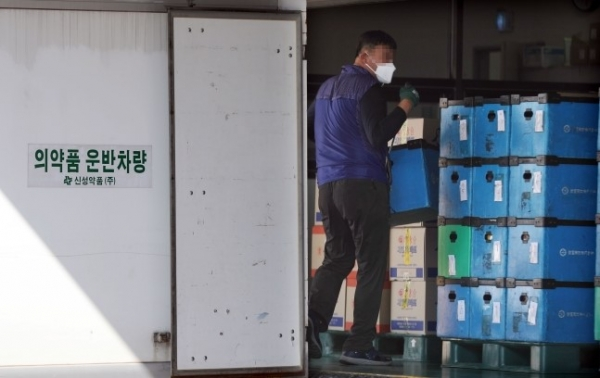 Picture of the Shinseong Pharmaceutical Logistics Center in Gimpo, Gyeonggi Province on Oct. 22 (Chosun News)