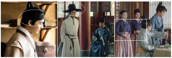 ▲From the left, Manggeon (Korean traditional accessory like hair band), Got (Korean traditional hat), and the dress same as Hanbok in Chinese drama. Source=https://news.joins.com