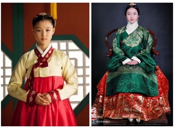 ▲The left one is a picture of a Hanbok and the right side's picture is Hanfu. Hanfu's shape varied as periods changed. This picture of Hanfu is from Ming Dynasty, and it was influenced by the early years of the Joseon Dynasty's Hanbok. Source= http://tvdaily.asiae.co.kr / https://namu.wiki